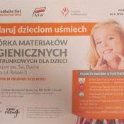 """""""Podaruj dzieciom uśmiech"""" – zbiórka materiałów higienicznych i opatrunkowych"""
